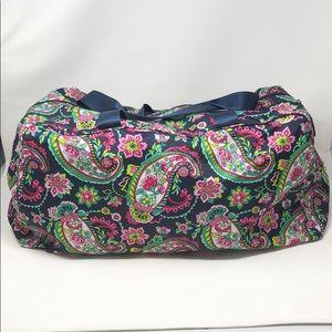 "Vera Bradley Navy Paisley Duffle Bag 21.5""x7""x 12"""